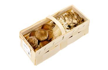 500g Holzspankorb mit verschiedenen Edelpilzen